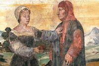 Petrarca med Laura på en fresk från 1500-talet.