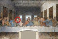 """""""Nattvarden"""" av Leonardo da Vinci. Johannes är inringad."""