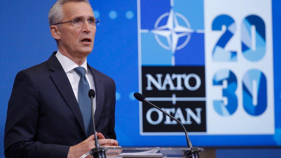 Natos generalsekreterare Jens Stoltenberg på måndagens presskonferens.