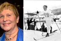 OS 1968 i Grenoble. Toini Gustafsson Rönnlund på väg mot guld på 10 km.