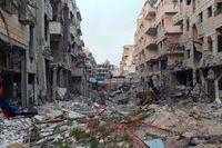 Förstörda byggnader i staden Harasta i östra Ghouta, fotograferade den 26 mars.