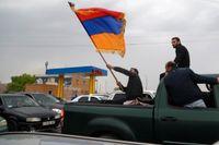 Oppositionsaktivister i staden Gyumri i Armenien.