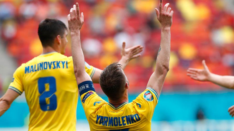 Ukrainas Andrij Jarmolenko firar 1–0-målet i segern mot Nordmakedonien.