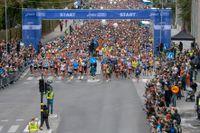 Starten av Stockholm Marathon i fjol. Men blir det något lopp i år?