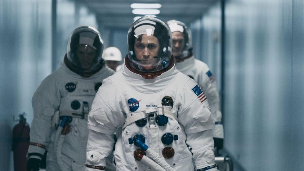 """Besättningen i Apollo 11 spelas i nya filmen """"First man"""" av Lukas Haas, Ryan Gosling och Corey Stoll."""