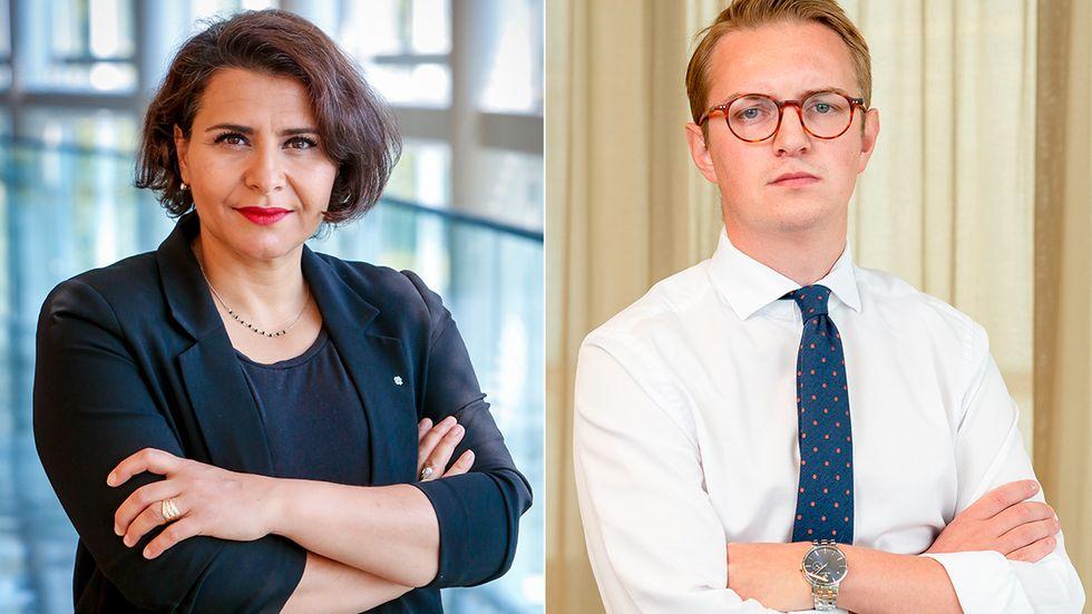 Centerpartisterna Abir Al-Sahlani och Jonny Cato.