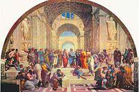"""Företrädarna för filosofisk praxis har inga problem att hitta historiska förgrundsgestalter att citera i sina samtal med människor i kris. Bilden är konstnären Rafaels """"Skolan i Aten"""" från 1510–11. Den finns i Vatikanen. I mitten ses Platon och Aristoteles, på trappan ligger Diogenes utsträckt. Även om det finns likheter är filosofisk praxis inte terapi utan ett sätt att undersöka sina liv."""