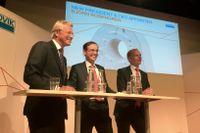 Björn Rosengren ny vd för Sandvik, Johan Molin, ordförande och Mats Backman tillförordnad vd på morgonens presskonferens.