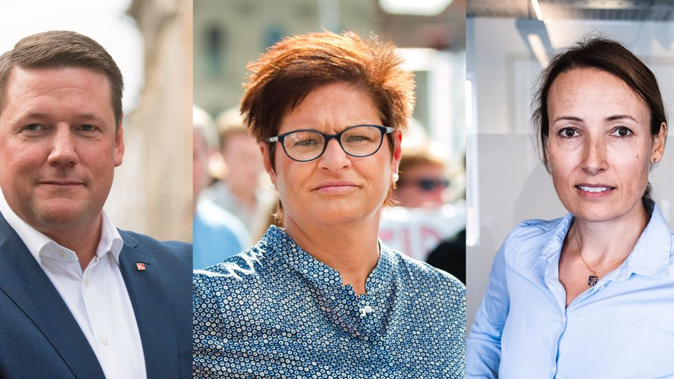 Kommunals förbundsordförande Tobias Baudin, Vårdförbundets ordförande Sineva Ribeiro och Läkarförbundets ordförande Heidi Stensmyren. Bildmontage.