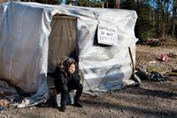 Ett migrantläger i Helenelund, Sollentuna som senare revs.