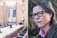 Svenska Akademiens sessionssal med de 18 stolarna i Börshuset. Akademien har redan gått under, skriver Lena Andersson i ett svar till Jenny Maria Nilsson.