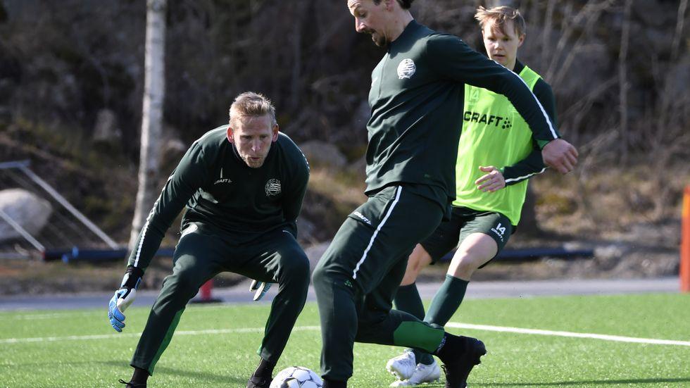 Zlatan Ibrahimovic i träning med Hammarby. Arkivbild