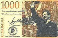 Jorge Eliécer Gaitán, som mördades 1948, på den colombianska 1000-pesosedeln.
