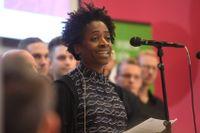 Årets Alma-pristagare Jacqueline Woodson talade under invigningen av årets bokmässa i Göteborg.