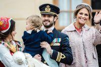 Prinsessan Sofia, prins Gabriel, prins Carl Philip och prinsessan Madeleine i samband med prins Gabriels dop i december 2017.