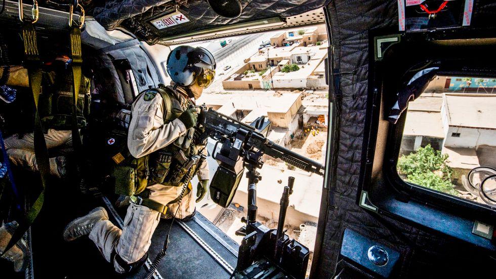 Den svenska helikopterenheten i Afghanistan under en övning 2011.