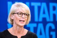 Moderaternas ekonomisk-politiska talesperson Elisabeth Svantesson på pressträffen.
