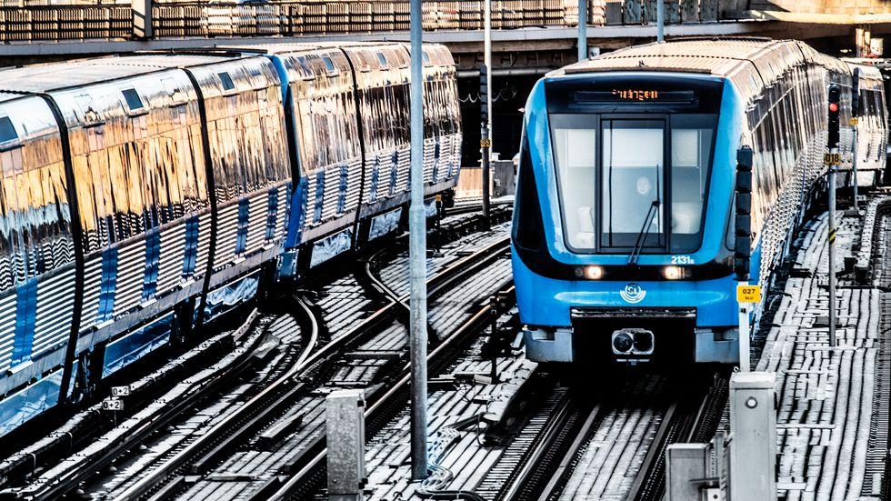 Stora förseningar under morgontrafiken i tunnelbanan. Arkivbild.