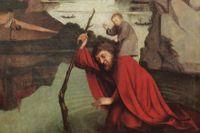 Sankt Kristofer, resenärernas skyddshelgon, bär barnet över en flod. Målning: Konrad Witz