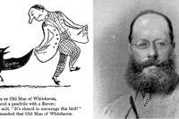 """Edward Lear fotograferad 1867. Till vänster limerick och teckning av Lear i boken  """"A book of nonsense"""" från 1846."""