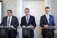 Sannfinländarnas Timo Soini, Centerns Juha Sipilä och Samlingspartiets Alexander Stubb leder regeringspartierna i Finland.