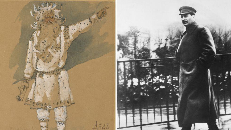 """Fader Frost, kostymskiss till operan """"Snegurotjka"""", (""""Snöflickan"""") av Rimskij Korsakov, 1885. Och Josef Stalin, 1938."""