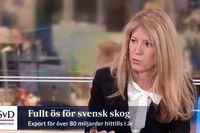Kerstin Hallsten, chefsekonom på Sveriges skogsindustrier, i Ekonomistudion tisdag.