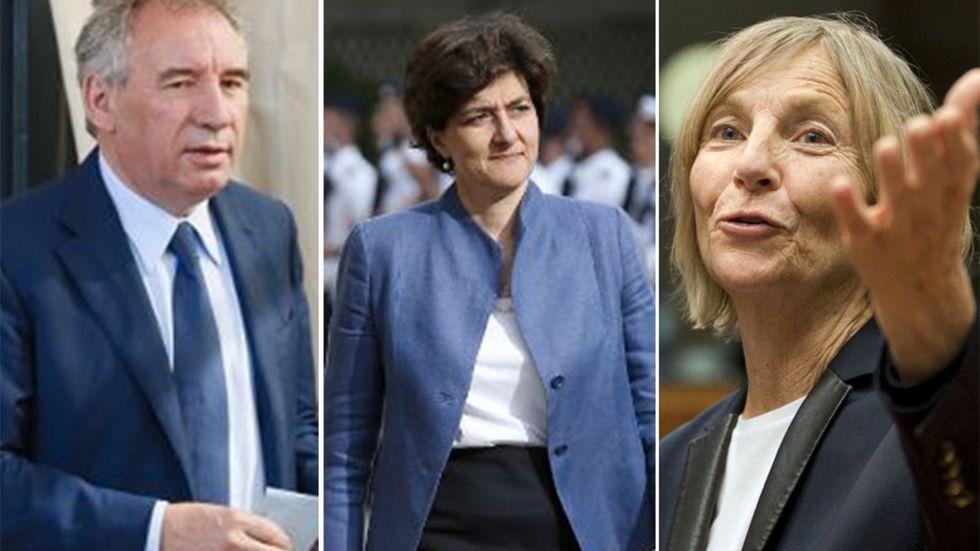 François Bayrou, Sylvie Goulard och Marielle de Sarnez.