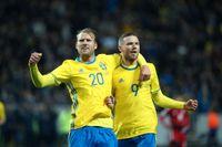 Marcus Berg och Ola Toivonen, vänner sedan tonåren och nu givet anfallspar i landslaget.