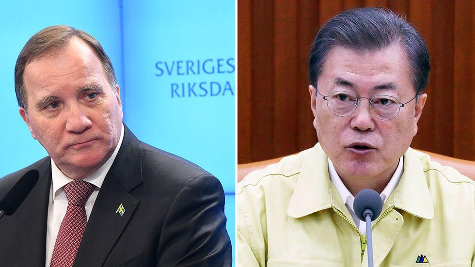 Statsminister Stefan Löfven och Sydkoreas president Moon Jae-in hade under fredagskvällen ett 20 minuter långt samtal om hanteringen av coronaviruset.
