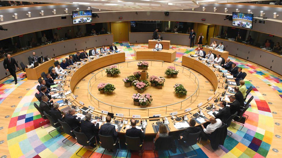 EU:s stats- och regeringschefer vid EU-toppmötet i Belgiens huvudstad Bryssel.