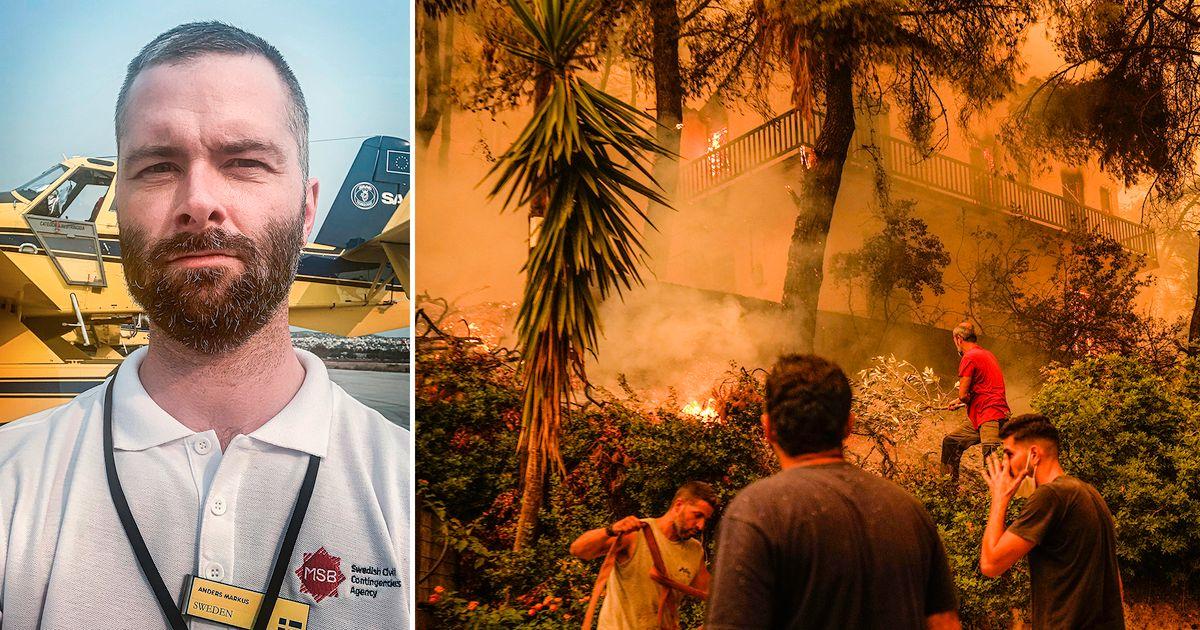 """Svenska brandmän i eldhärjade Grekland: """"Det är varmt, blåser och brinner"""""""