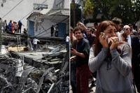 Flera byggnader har rasat ihop i Mexico City. Skalvet inträffade på dagen 32 år efter jordbävningen i Mexiko 1985 då minst 10000 människor miste livet.