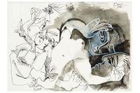 """Pablo Picassos """"Nus"""", bläck och gouache på papper och signerad 1972, året före konstnärens död, såldes för 8.600.000."""
