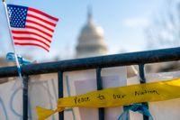 Kapitolium syns bakom en avspärrning. Fotot är taget en dryg vecka efter attacken mot kongressbyggnaden i januari.
