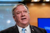 USA:s utrikesminister Mike Pompeo var med på länk när EU:s utrikesministrar höll webbmöte under måndagseftermiddagen. Arkivfoto.