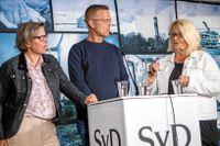 Lena Andersson (tv) diskuterade svenskt samtalsklimat tillsammans med mediestrategen Brit Stakston och SvD:s Anders Q Björkman i Almedalen.