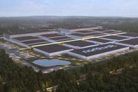 En rendering av Northvolts kommande fabrik i Skellefteå. I dag är området i stort sett bara en stor grop.