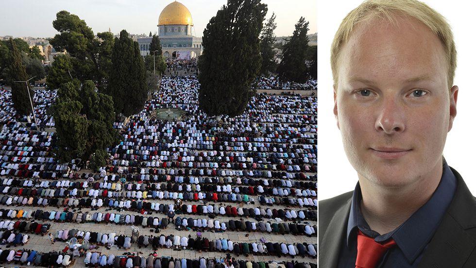Liberalerna riskerar partiskhet i en fråga som i grund och botten handlar om tillgång till kulturarv och religioners heliga platser, skriver Anders Österberg (S). På bilden syns klippmoskén i Jerusalem.