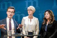M-ledaren Ulf Kristersson, nya ekonomiskpolitiska talespersonen Elisabeth Svantesson och arbetsmarknadspolitiska talespersonen Jessica Polfjärd.