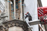 Arbetare lyftes upp till Notre-Dame för att inleda arbetet med att avlägsna de smälta byggnadsställningarna under måndagen.