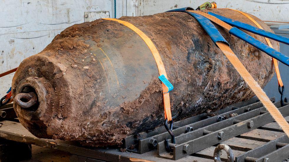 En desarmerad bom, denna hittades vid ett bygge i Frankfurt 2019.