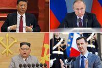 Kinas president Xi Jinping, Rysslands president Vladimir Putin, Nordkoreas ledare Kim Jong-Un, Syriens president Bashar al-Assad.
