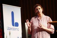 Birgitta Ohlsson under ett tal i Linköping förra månaden inför Liberalernas partiledaromröstning. Arkivbild.