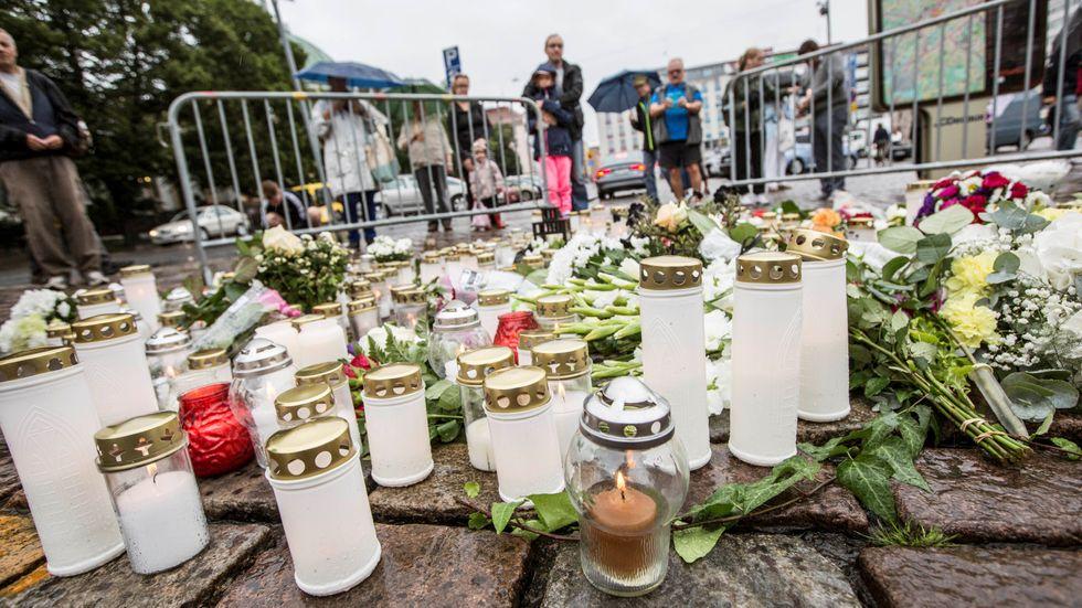 Salutorget i Åbo där flera personer knivhöggs i en terrorattack i augusti 2017. Arkivbild.