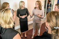 Centerledaren Annie Lööf möter kvinnliga företagare, bland annat Isabella Löwengrip.