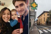 Linn Ejerblom, med barnet Milio och fästmannen Daniel Keymer är i Bergamo.