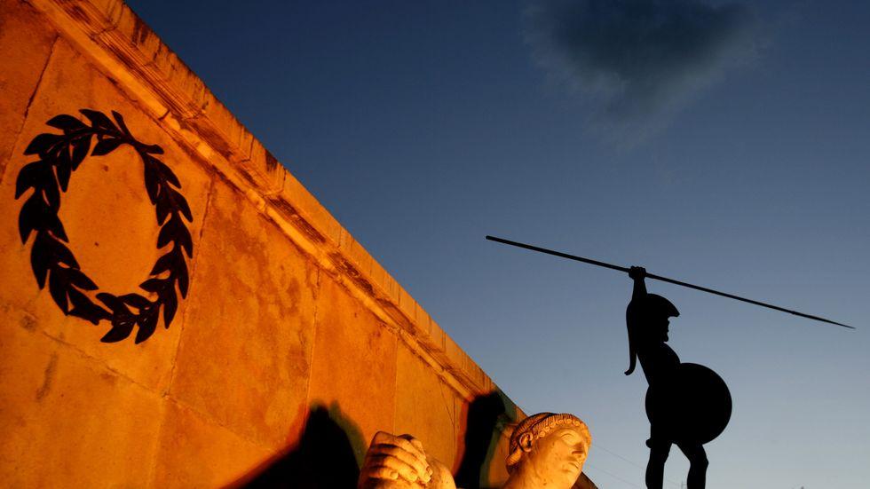"""Kung Leonidas blickar ned mot Thermopylae. Med 300 spartaner höll han tillbaka en persisk armé på många tusen. Han hade vad Nassim Nicholas Taleb skulle kalla """"skin in the game"""""""