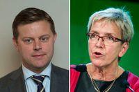 Moderaternas utrikespolitiska talesperson, Jonas Jacobsson Gjörtler och Centerpartiets utrikespolitiska talesperson Kerstin Lundgren.