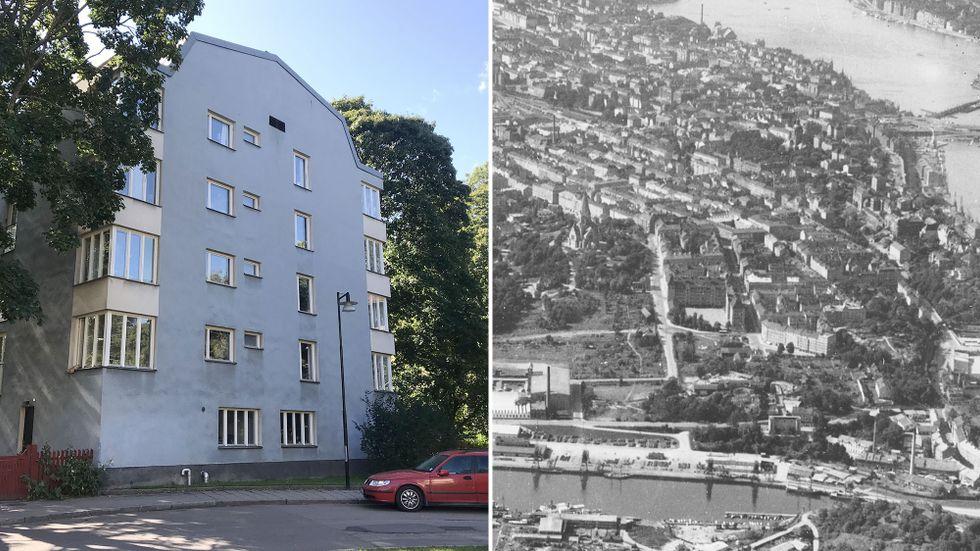 """""""Blå huset"""" byggdes 1970-71. Till höger en bit av Södermalm 1937 – se hela kartan med förklaringar längre ner i artikeln."""